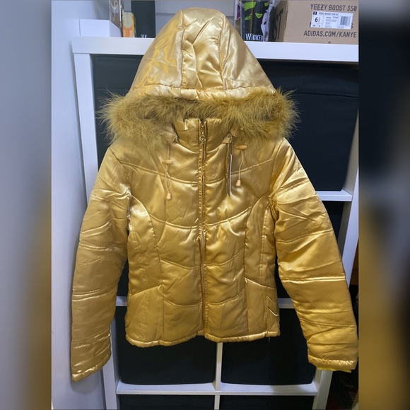 Palomares Jackets & Blazers - Winter Jacket with Fur Hoodie (GOLD)